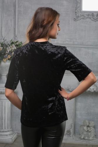 Блуза черная из бархата