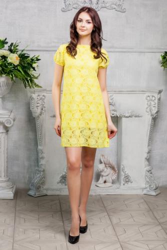 Платье кружевное цвет желтый