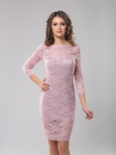Платье кружевное цвет пудра