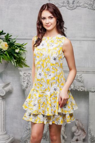 Платье желтое с белыми цветами