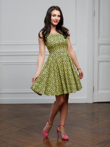 Платье желтое геометрия