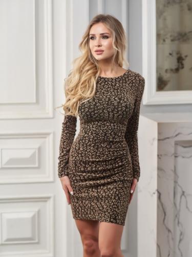 Платье цвет золотой принт леопард