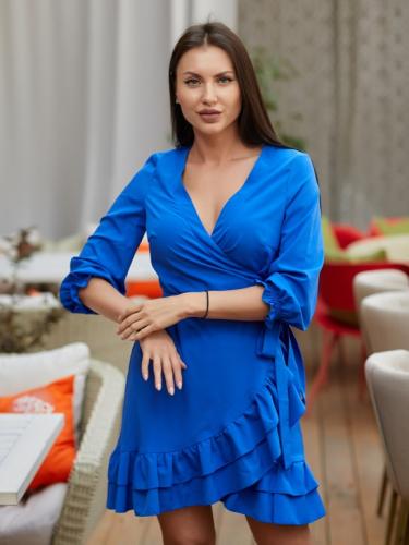 Платье с воланами цвет синий