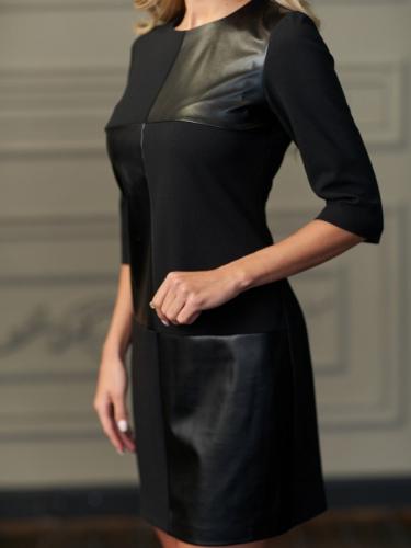 Платье комбинированное экокожей
