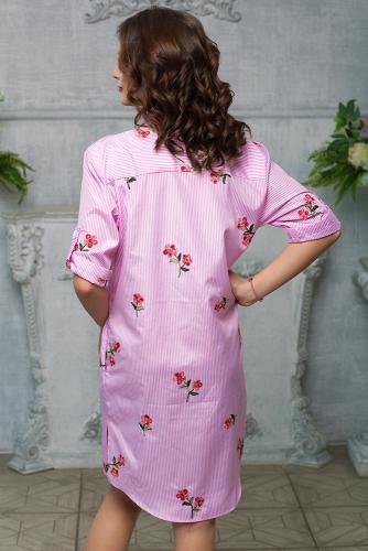 Платье -рубашка в полоску цвет розовый с вышивкой