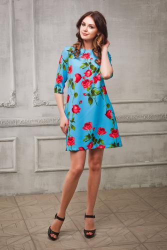 Платье с розами цвет голубой