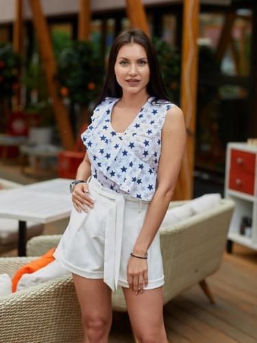 Блуза с воланом принт синие звезды