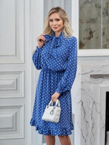 Платье цвет синий электрик в белый горох