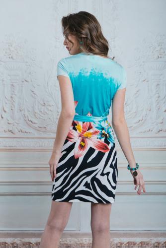 Платье бирюзовое с цветами и зеброй