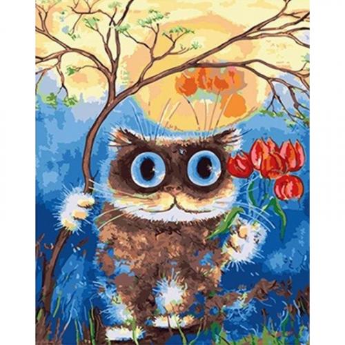 Картина-раскраска по номерам « Влюбленный кот»