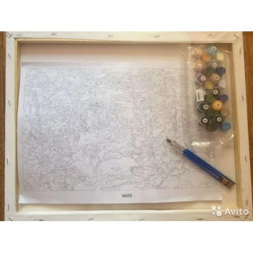 Картина-раскраска по номерам «Рыбацкий городок»