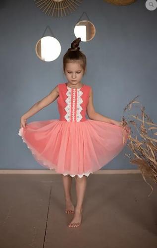Платье для девочки Л 20- 4 Кружева коралл