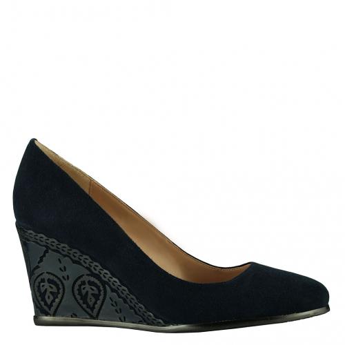 Туфли синяя замша