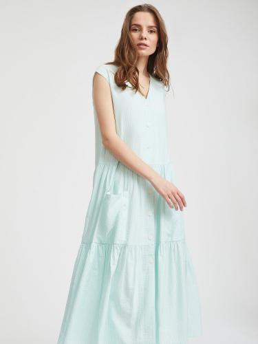 Платье с воланами в полоску