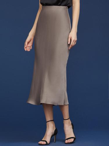 Струящаяся юбка из сатина