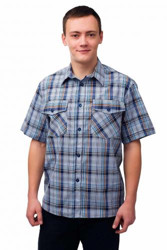 Мужская рубашка шотландка - короткий рукав