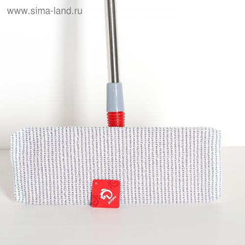 Швабра плоская, телескопическая ручка 86-120 см, насадка микрофибра 34×14 см