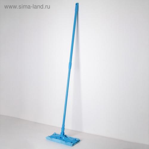 Швабра плоская, телескопическая ручка 80-128 см, насадка из микрофибры, цвет МИКС