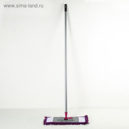 Швабра плоская, ручка 120 см , насадка микрофибра букли 40×10 см, цвет МИКС