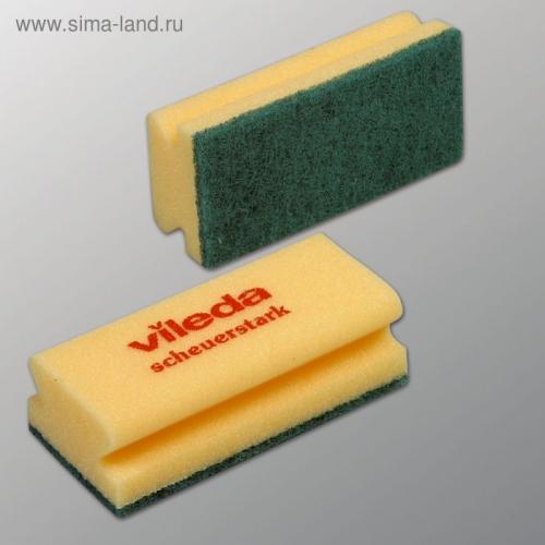 Губка для профессиональной уборки Vileda, зелёный абразив, 9,5 х 5,5 см