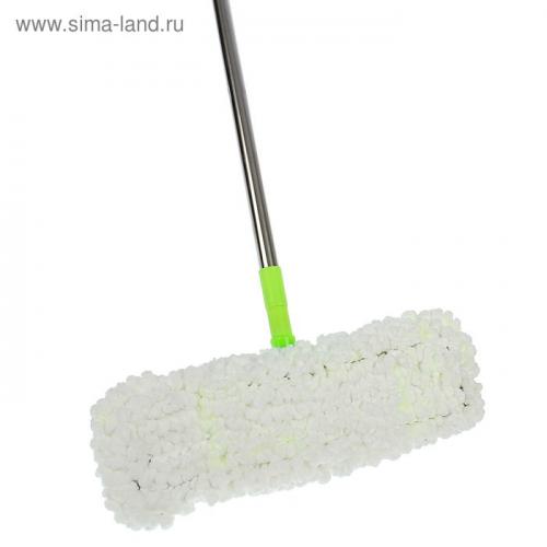 Швабра плоская, телескопическая ручка 72-124 см, насадка микрофибра 40×10 см, цвет МИКС