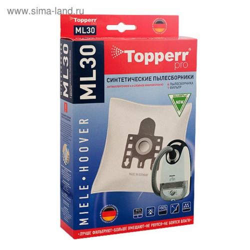 Синтетический пылесборник Topperr ML 30 для пылесосов Miele, Hoover, 4 шт. + 1 фильтр