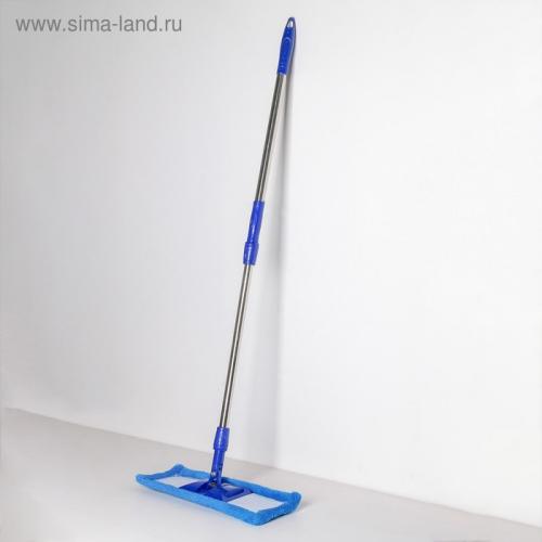Швабра плоская «Ocean», телескопическая ручка 77-117 см, насадка микрофибра 40×10 см, цвет синий