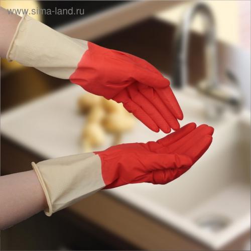 Перчатки хозяйственные латексные, плотные, размер L, 50 гр, цвет красный