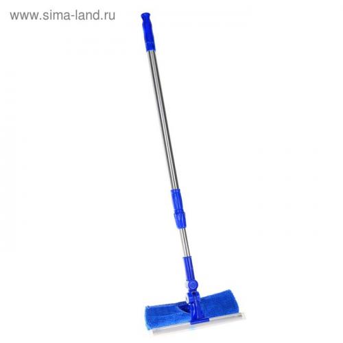 Окномойка с телескопической стальной ручкой, поворотная головка 23×68(100) см, цвет синий