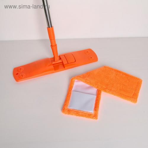 Швабра плоская, телескопическая ручка 68-121 см, насадка микрофибра 40×10 см, цвет МИКС
