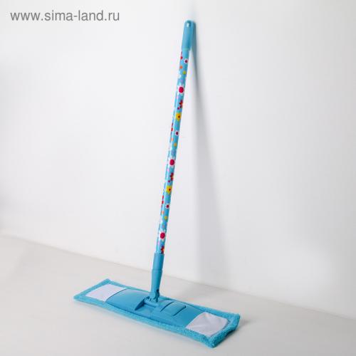 Швабра плоская, телескопическая ручка 68-121 см, насадка микрофибра, цвет МИКС