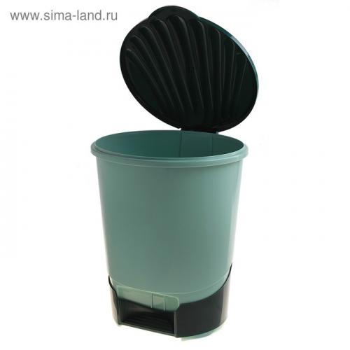 Ведро с педалью для мусора 10 л, цвет зелёный