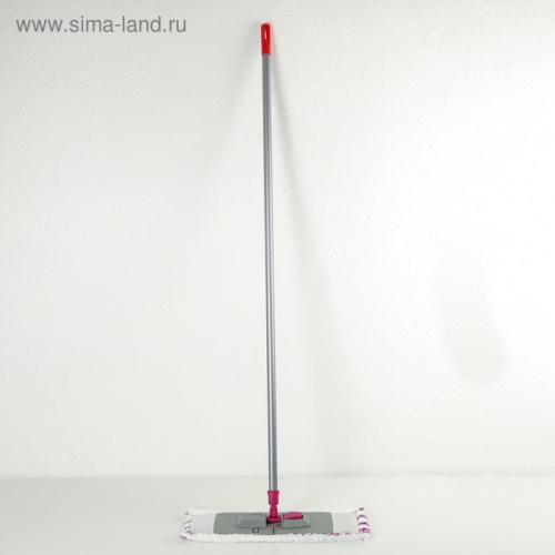 Швабра плоская, ручка 120 см , насадка микрофибра 40×10 см, цвет серый