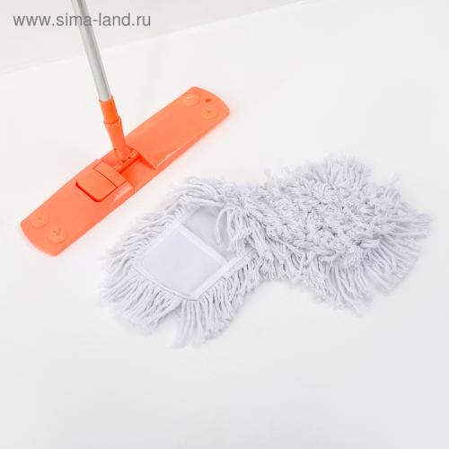 Швабра плоская, телескопическая стальная ручка, х/б насадка 43×12×87(120) см, цвет МИКС