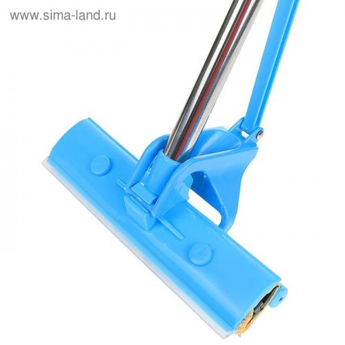 Окномойка с роликовым отжимом, стальная ручка, микрофибра 25×6×124 см