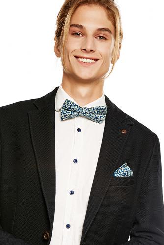 Комплект: галстук-бабочка и платок Уолл-стрит #193783Синий