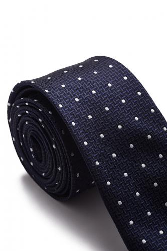 Узкий галстук Триуф в Калифорнии в горох #189451Синий