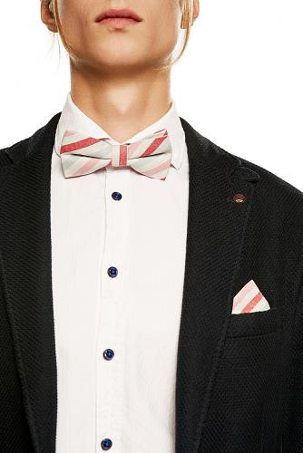 Комплект: галстук-бабочка и платок Пристегните ремни #194330Светло-розовый, красный, светло-серый