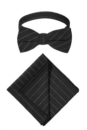 Комплект: галстук-бабочка и платок Афера Томаса Крауна #193910Черный, белый