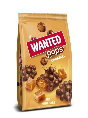 НОВИНКА  Батончик WANTED POPS CARAMEL MINI, покрытый молочным шоколадом с карамельной начинкой