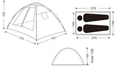 5018р. 5693р. 3093 MONZA 2  палатка - автомат, 2, голубой