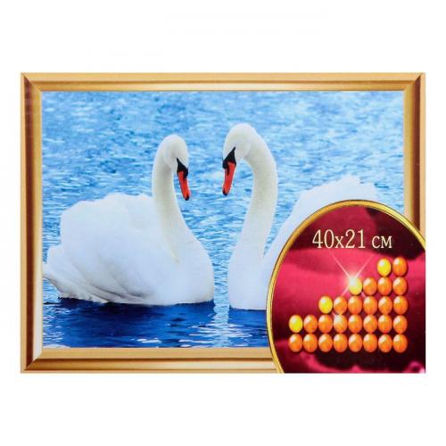 Алмазная вышивка с частичным заполнением «Лебеди», 40 х 21 см. Набор для творчества