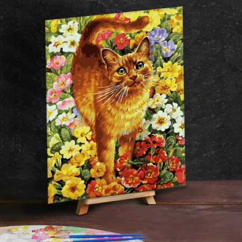 Картина по номерам на холсте 30×40 см «Кот на лужайке»
