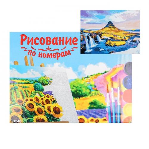 Картина по номерам на холсте 30 × 40 см, «Гора и водопады»