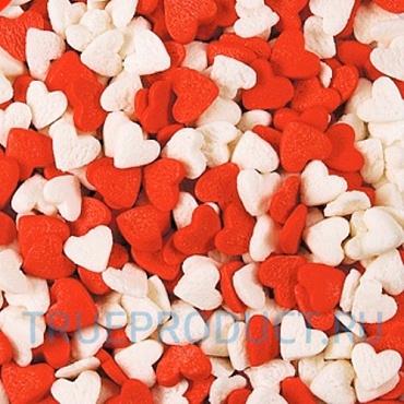 Посыпка Сердца красно-белые, посыпка 7 мм, 50 грамм