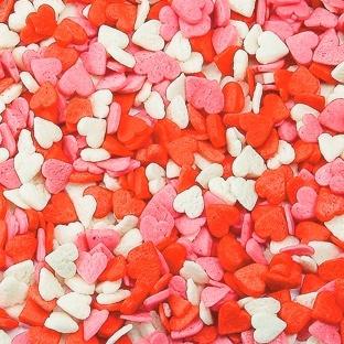 Посыпка Сердца красно/розовые/белые МИНИ, посыпка 4 мм, 50 грамм