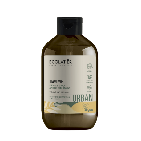 ECL/1753/ Шампунь Объем и сила для тонких волос  растительные протеины & алоэ вера,600 мл
