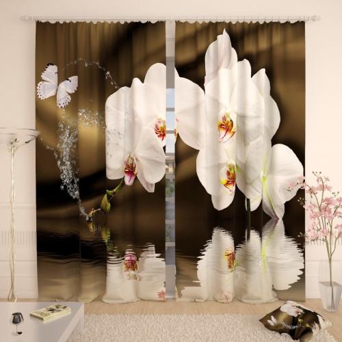 Фотошторы Белоснежные орхидеи