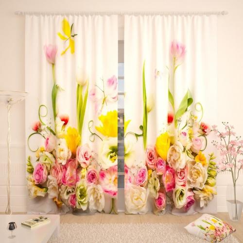 Фотошторы Цветочные бабочки на белом фоне