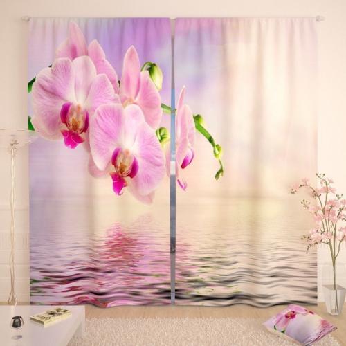 Фотошторы Розовая орхидея у воды